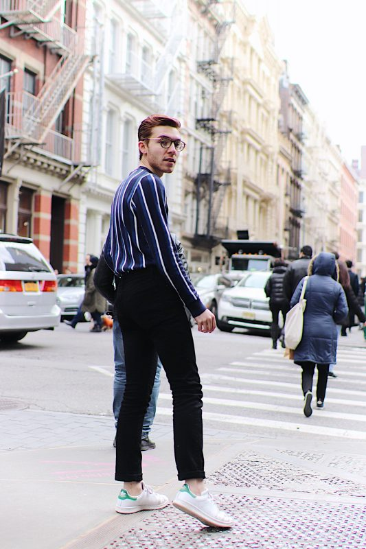 Topman Navy and White Stripe Sweater